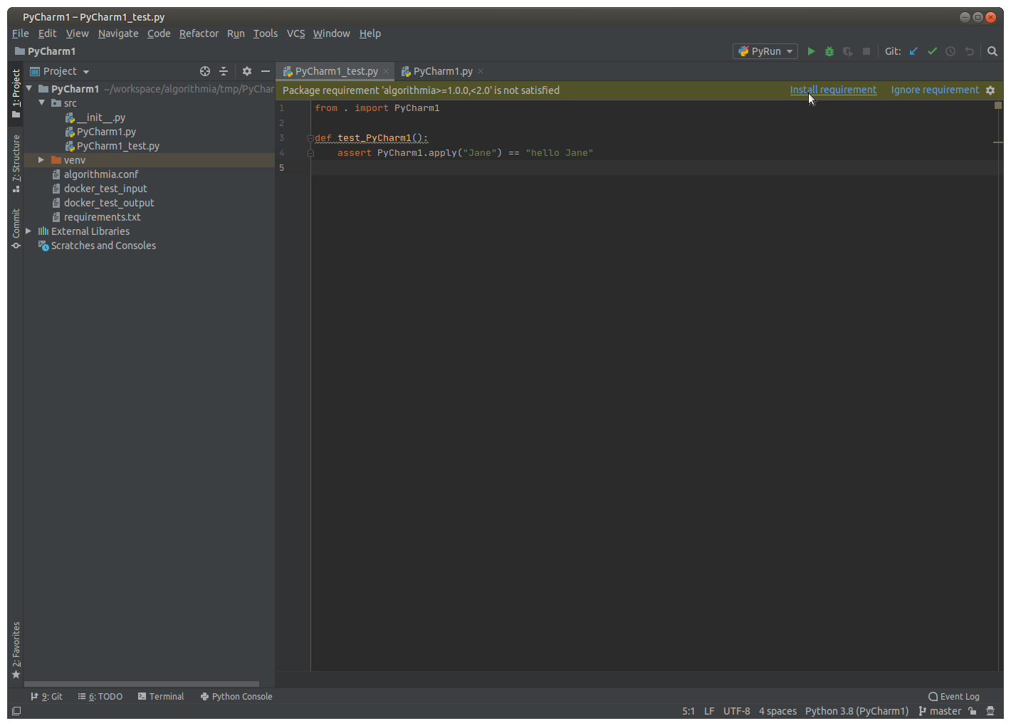 PyCharm - Package requirement not satisfied