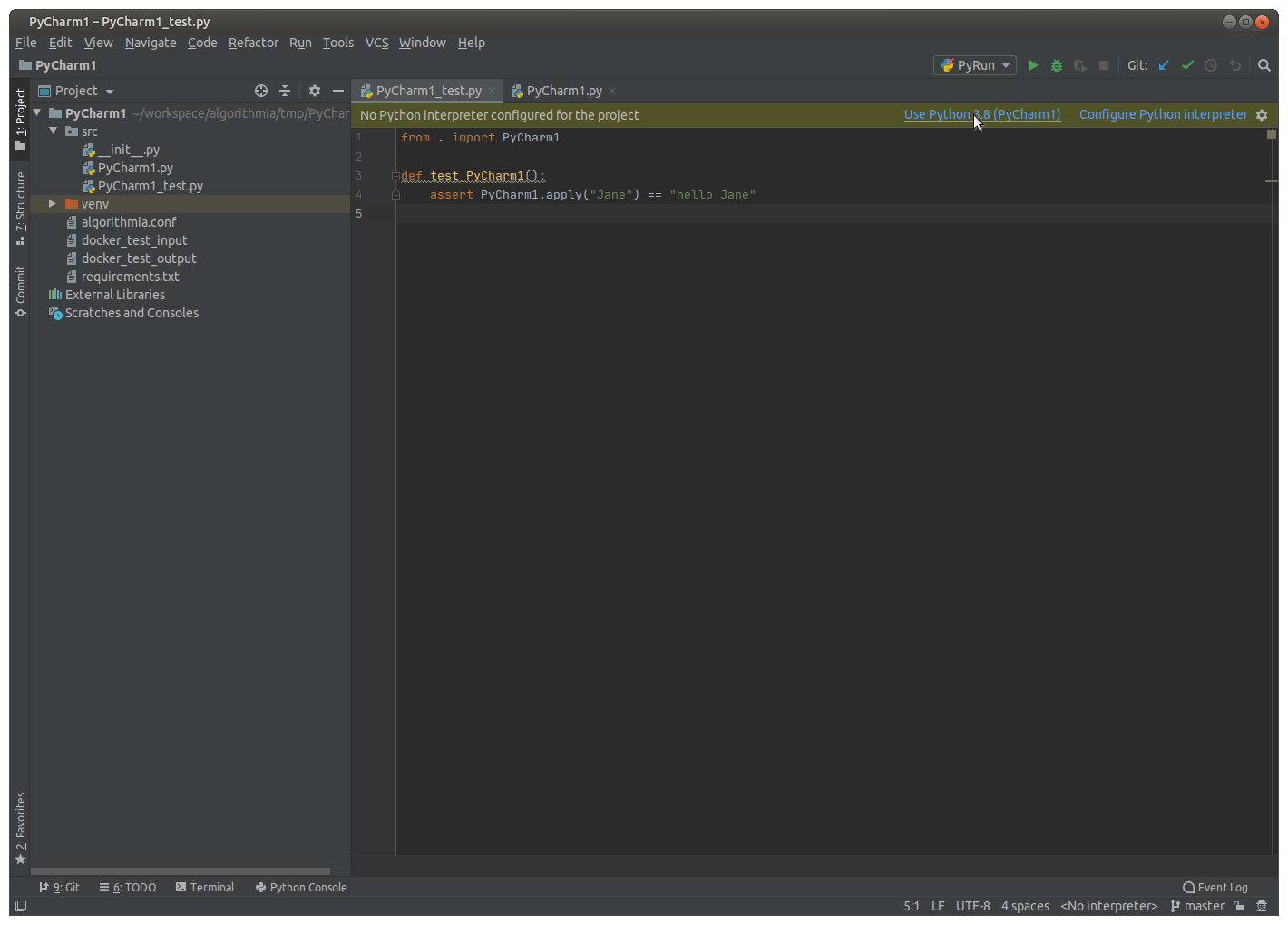 PyCharm - No Python interpreter configured for the project