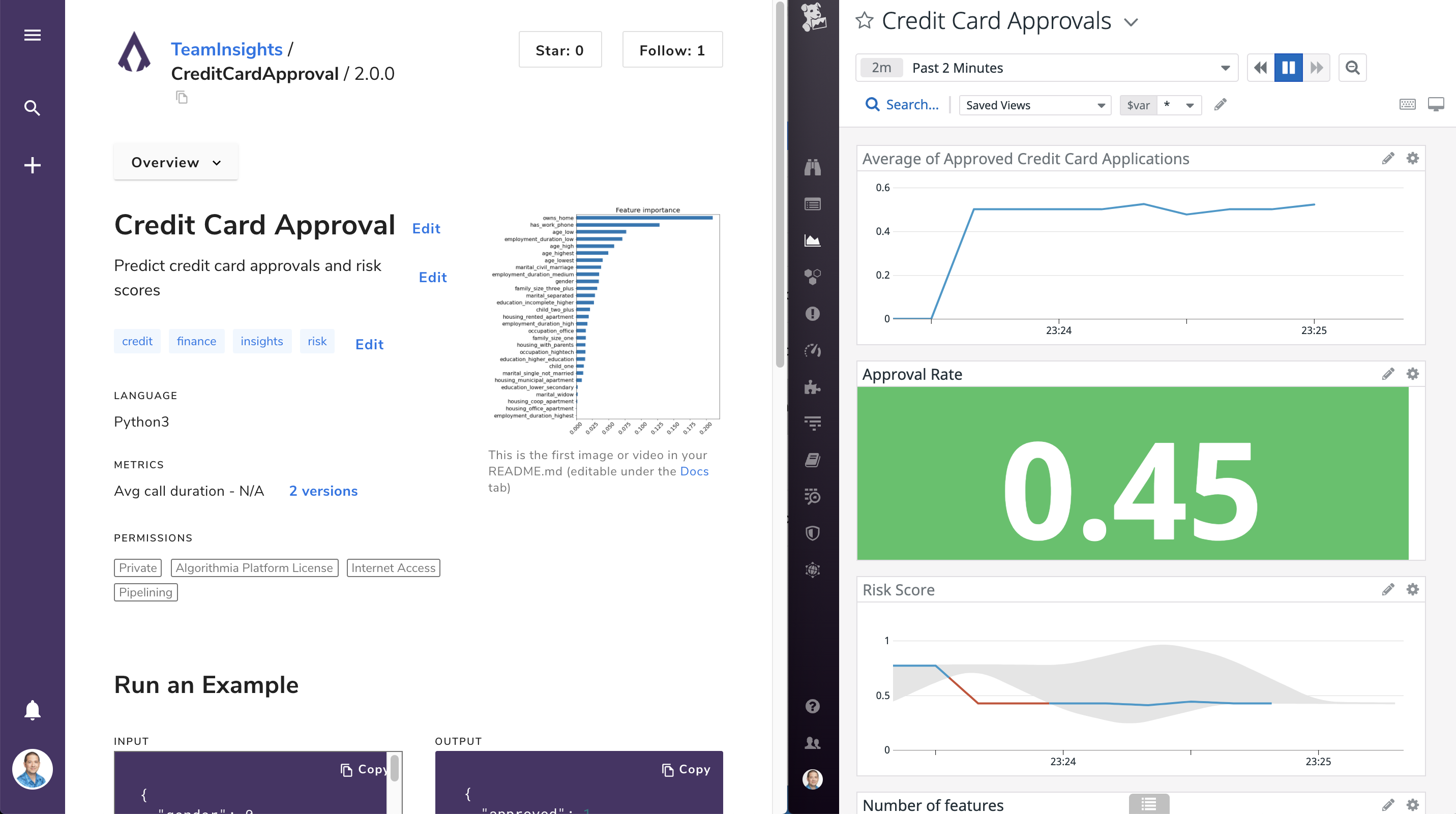 Algorithmia insights page and Datadog dashboard side-by-side