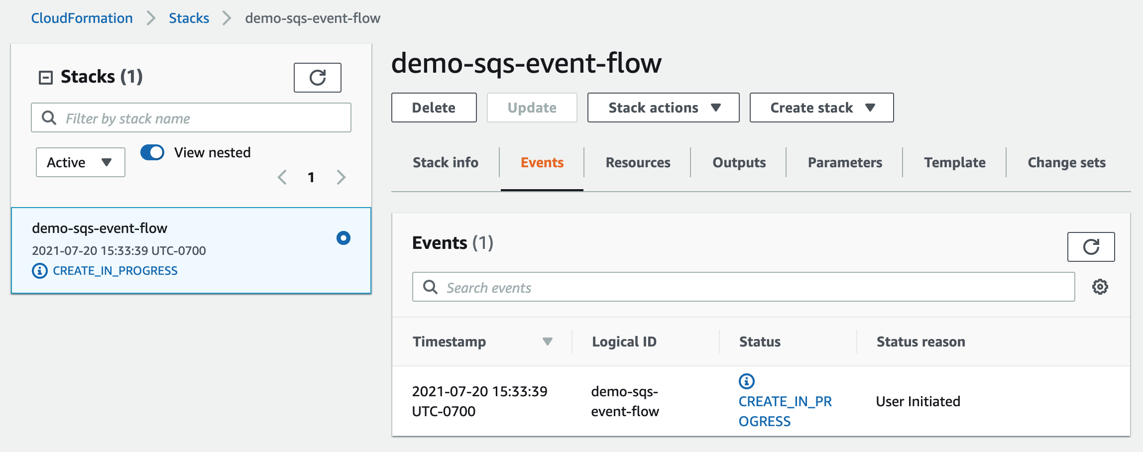 CloudFormation stack creation in progress