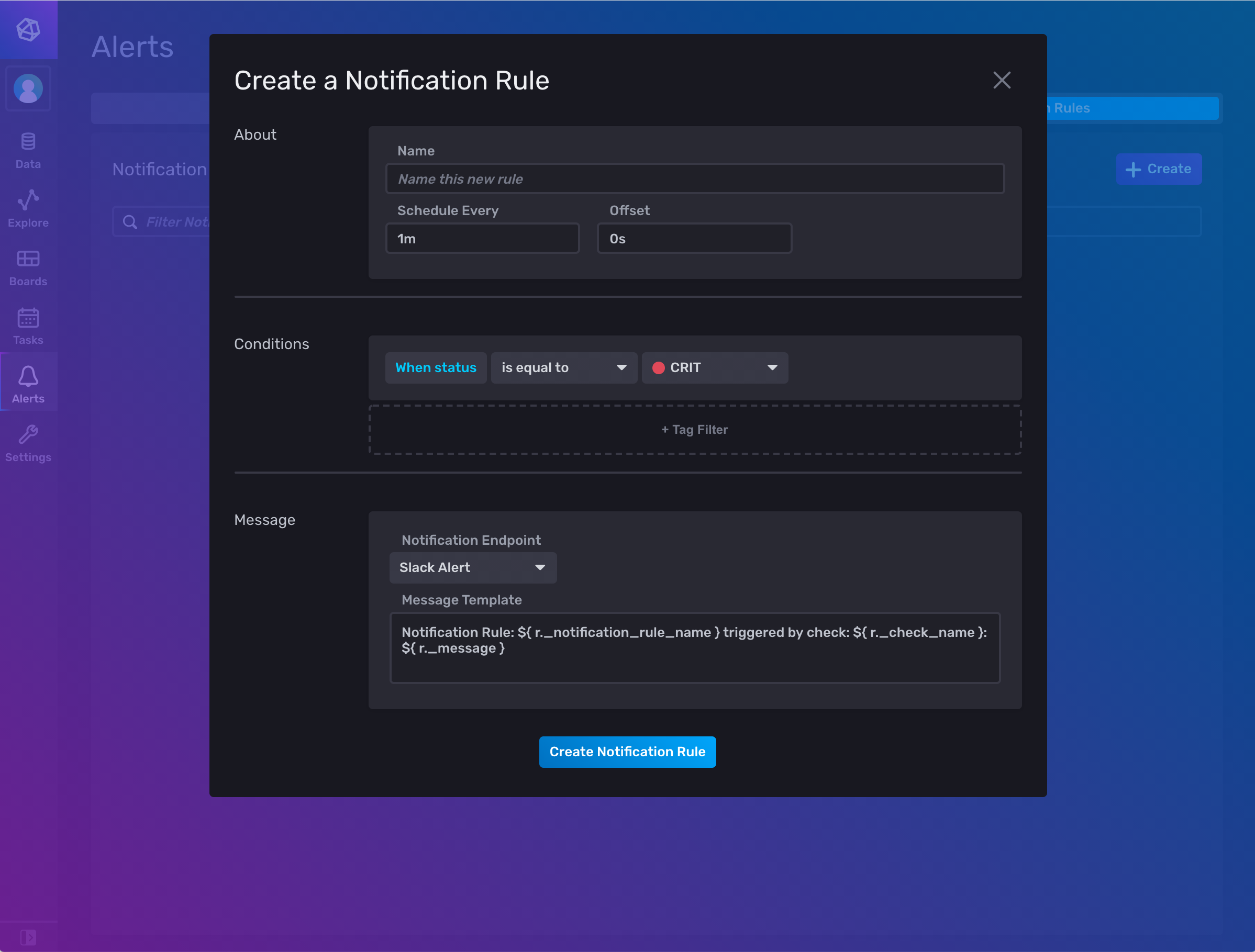 InfluxDB create notification modal