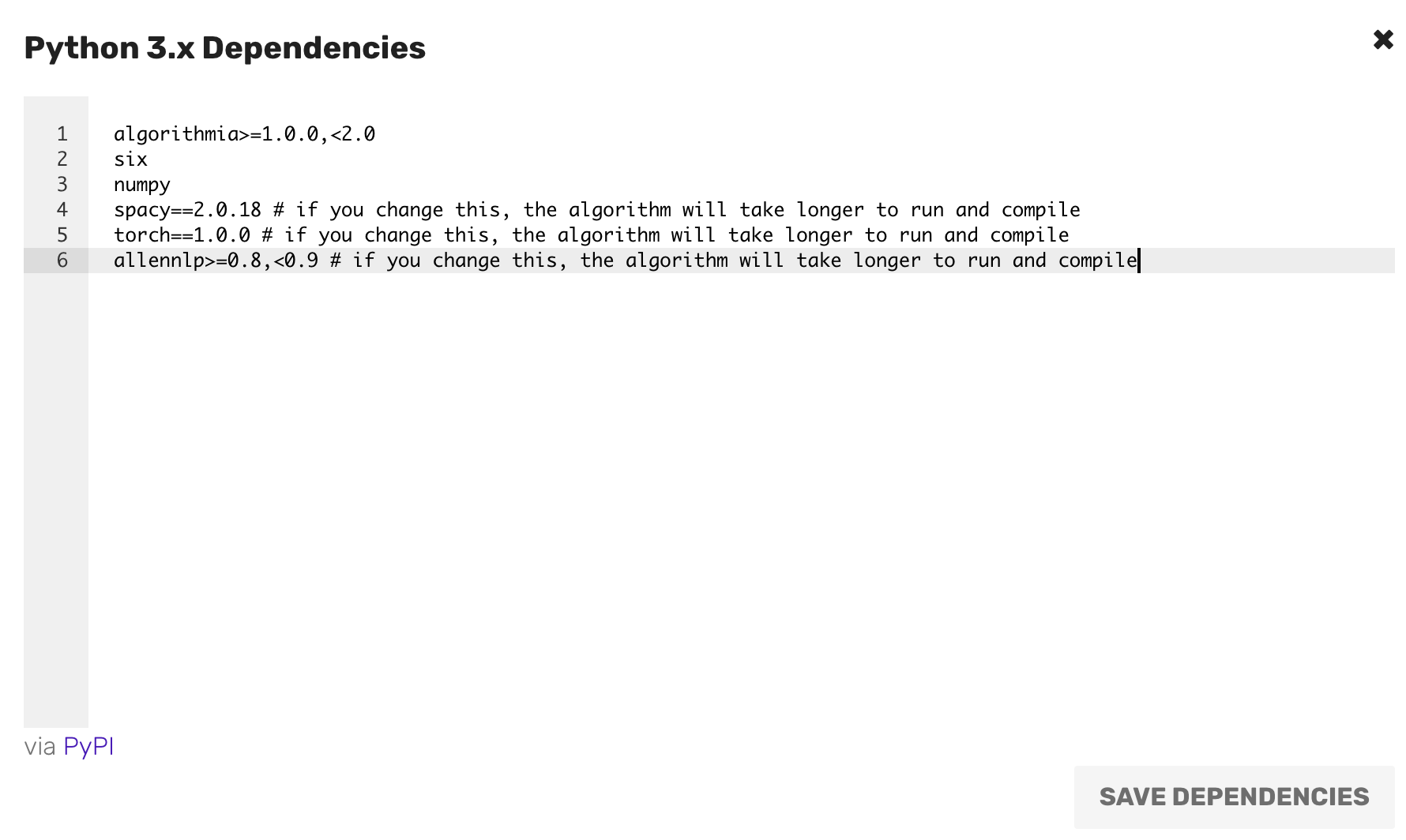 Set your dependencies