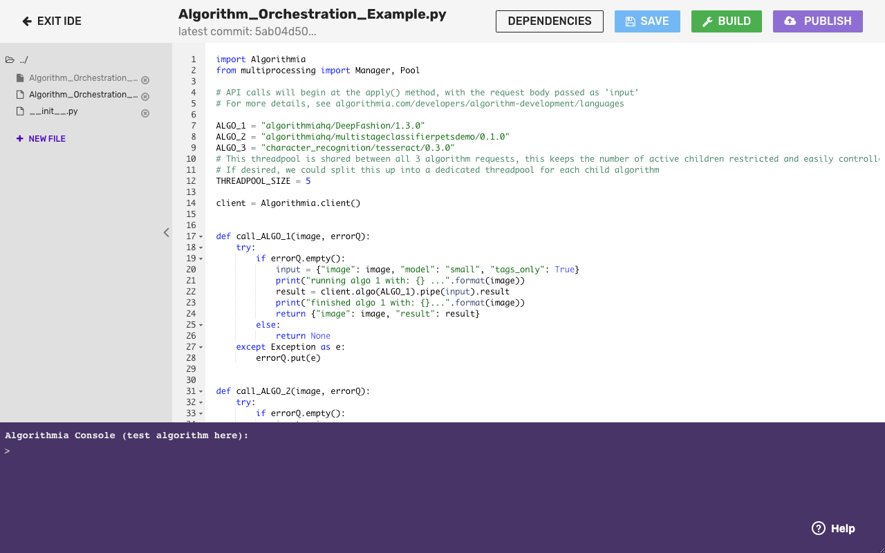 Algorithm Page Source Code Tab