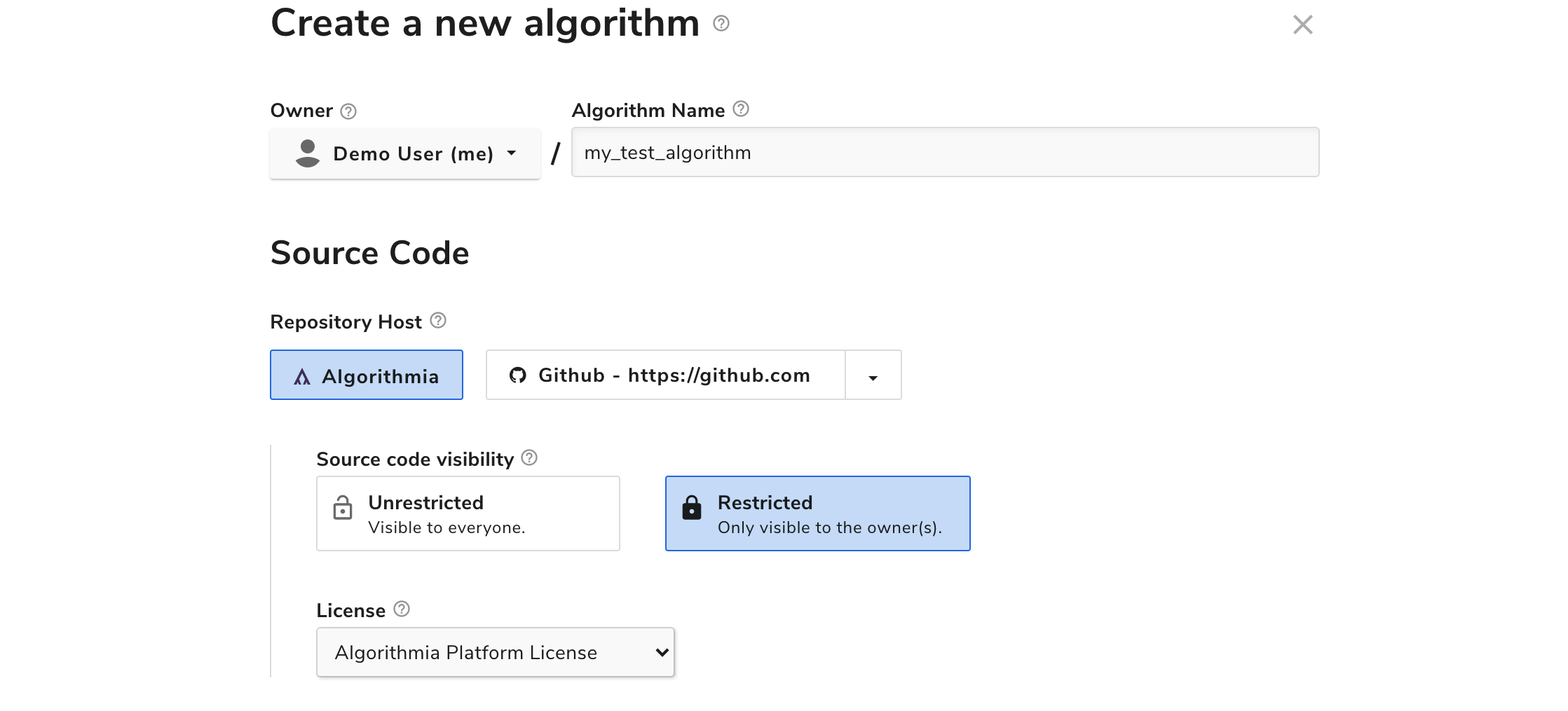 Creating an algorithm with the Algorithmia repository host