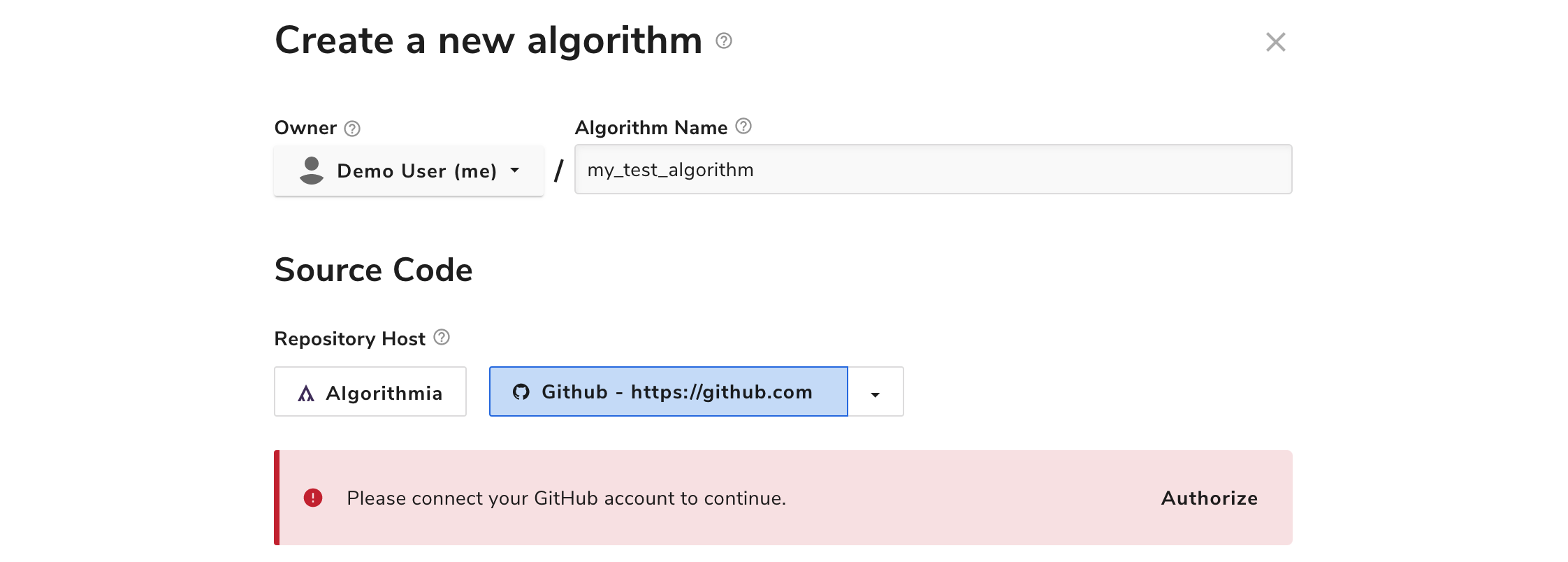 Authorization prompt for GitHub repository host