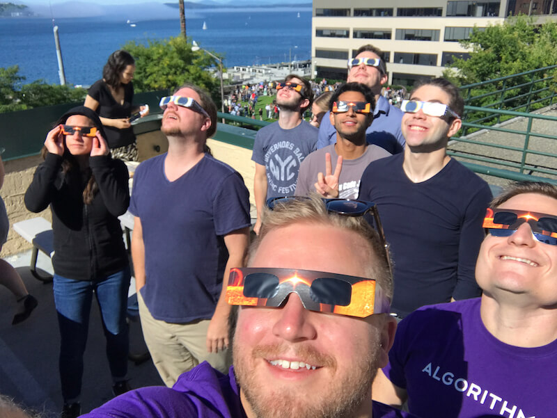 Algorithmia team viewing the lunar eclipse